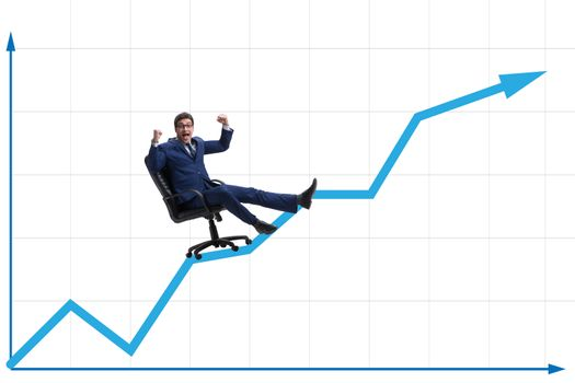 Businessman in economic growth concept
