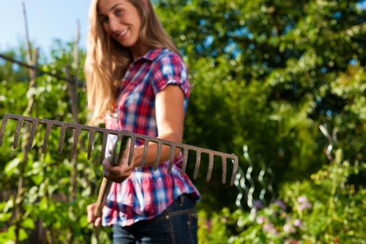 Gardening in summer - woman with grate