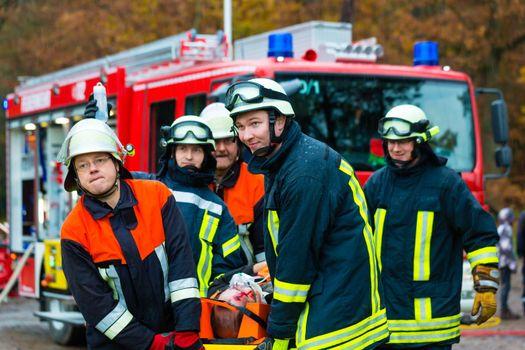 Accident - Fire brigade, Accident Victim on Stretcher