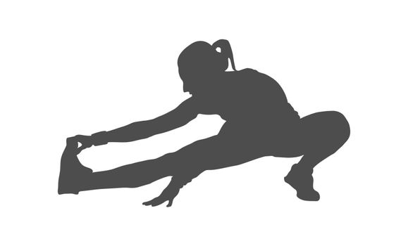 Silhouette of a female athlete. The athlete does a stretch. Vector illustration, flat style.