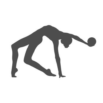 Silhouette of a gymnast girl with a ball. Vector illustration, flat style.