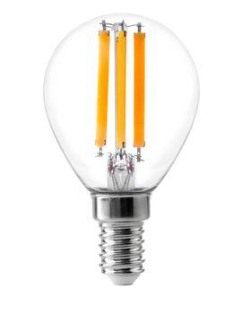 Energy efficient led filament Light Bulb Glowing isolated on white background.