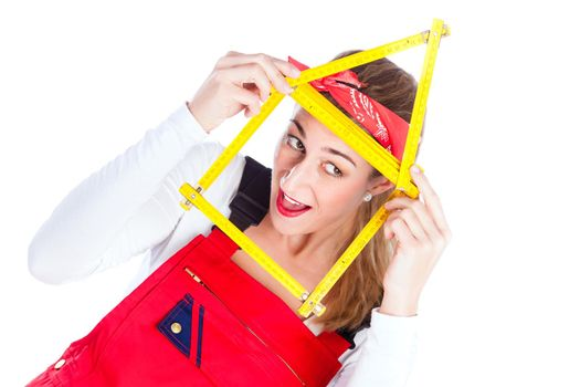Woman having fun with home improvement