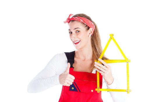 Woman having fun at home improvement