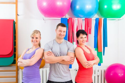 Patients after physical exercises with trainer
