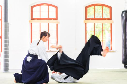 Aikido teacher and student training throwing and falling