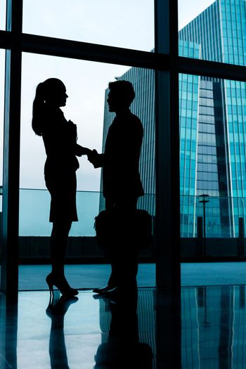 Silhouettes of backlit business people handshake