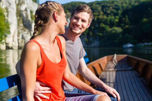 Couple on boat at Danube gorge
