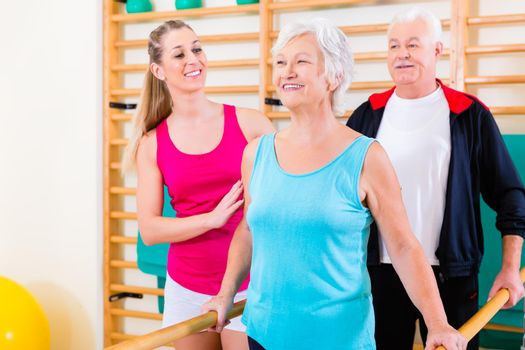 Senior at rehab in physical therapy