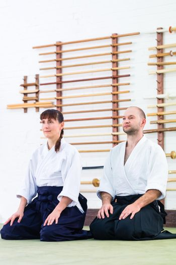 Teacher and student at Aikido martial arts school