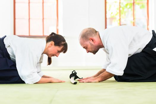 Aikido martial arts teacher and student take a bow