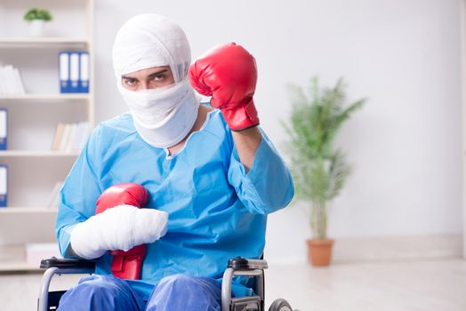 Injured boxer recovering in hospital