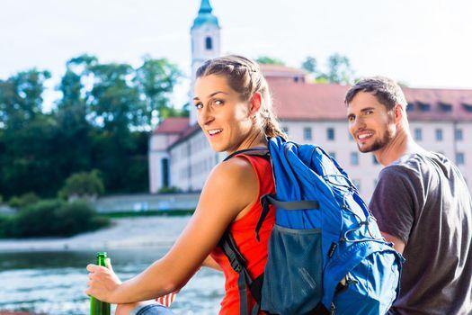 Couple hiking at Danube Weltenburg monastery