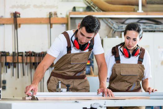 Carpenter and apprentice working together in workshop