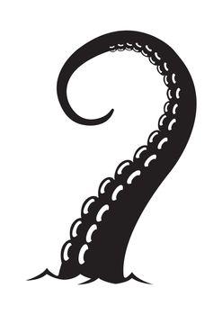 Tentacles of Kraken (Giant Octopus / Squid ) flat illustration