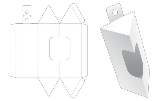 Hanging triangular packaging with window die cut template
