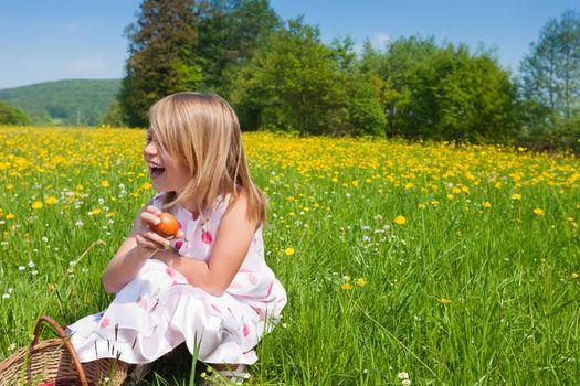 Child on Easter egg hunt