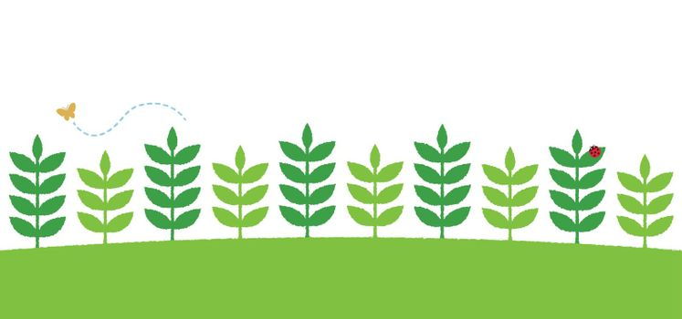 Hand-drawn green leaves side by side pattern. vector flat illustration for web footer design.