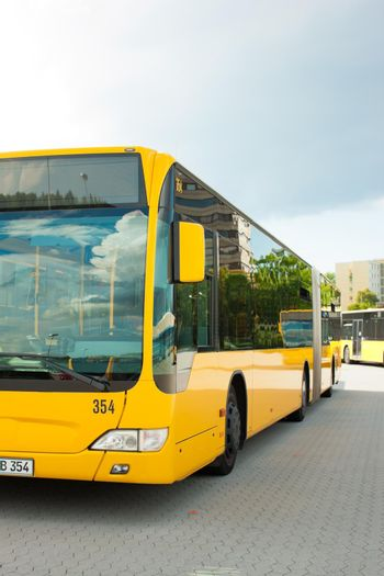 Bus parking on bus station or terminal waiting for its next service