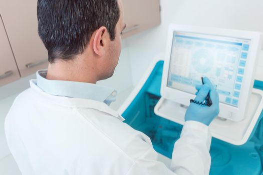Doctor preparing a blood count in the laboratory
