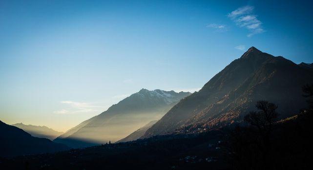 Sunset in alp mountains near Schenna, south tyrol