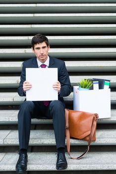 Worried unemployed businessman