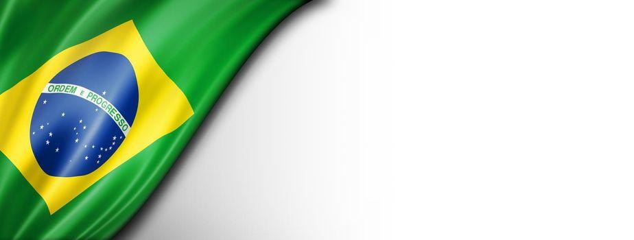 Brazilian flag isolated on white banner