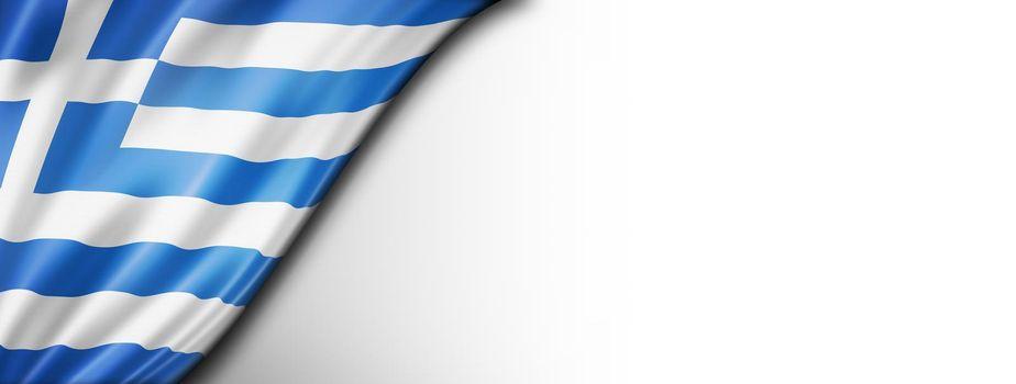Greek flag isolated on white banner
