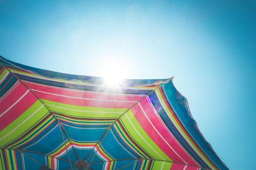 Colorful umbrella close-up view