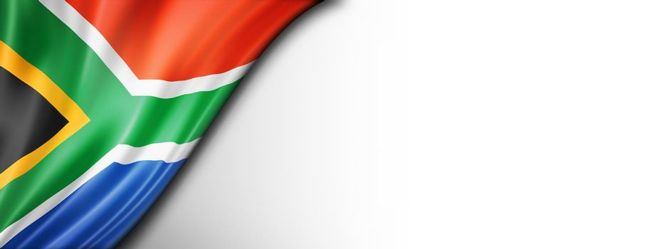 South African flag isolated on white banner