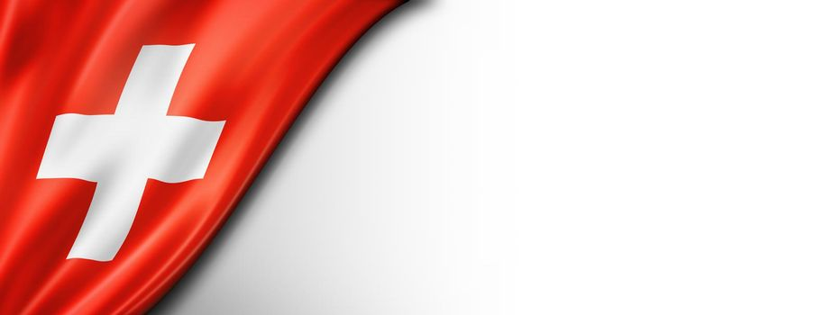 Swiss flag isolated on white banner