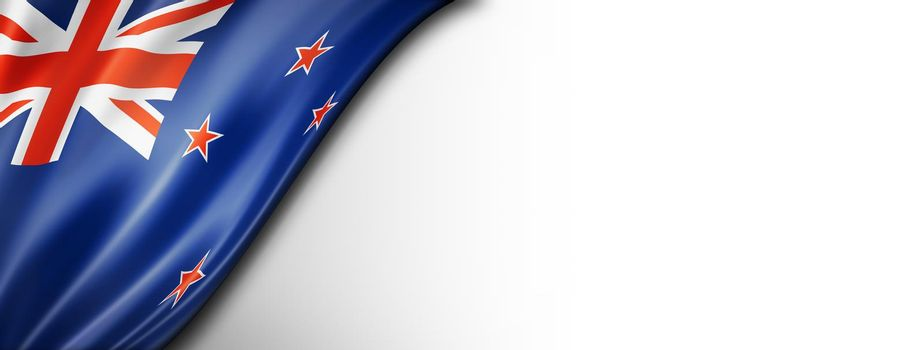 New Zealand flag isolated on white banner