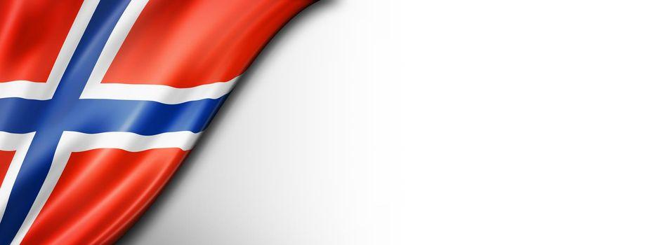 Norwegian flag isolated on white banner