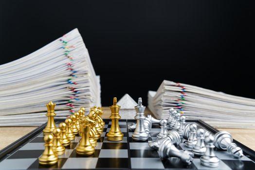 Golden king confront silver king business concept leader