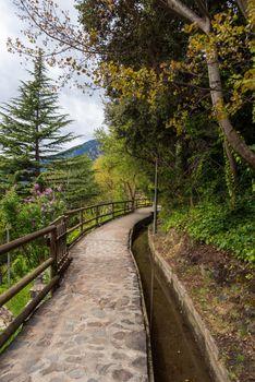 Rec del Sola path that connects the City of Escaldes Engordany with Andorra La Vella, Andorra