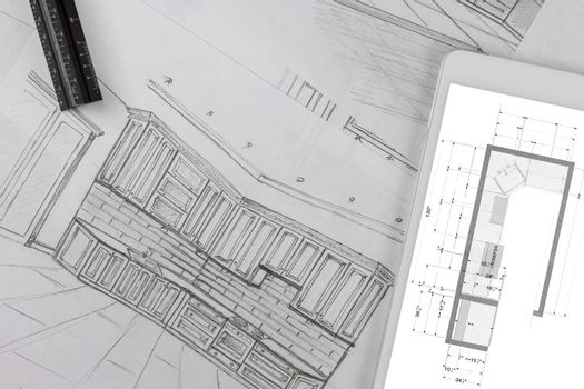 Architectural kitchen project makes a blueprint according to the custom kitchen design drawing