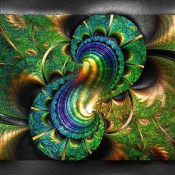 3D rendering of plastic fractal on leather
