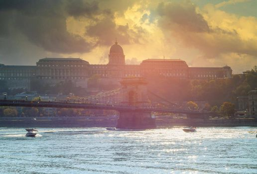 Panoramic view with Chain bridge of Budapest building capital of Hungary in soft focus