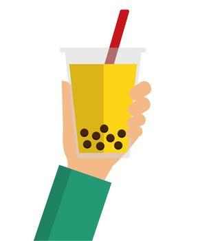 bubbles tea / bubbles soda flat vector  illustration (hand holding)