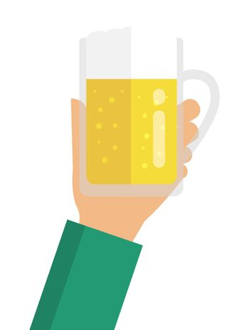 holding a beer in hand / flat vector illustration