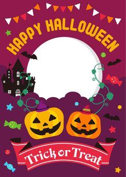 Happy halloween / cartoon pumpkin ( Jack o lantern ) character vector illustration