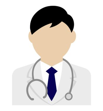Young male worker avatar flat illustration (upper body) / doctor