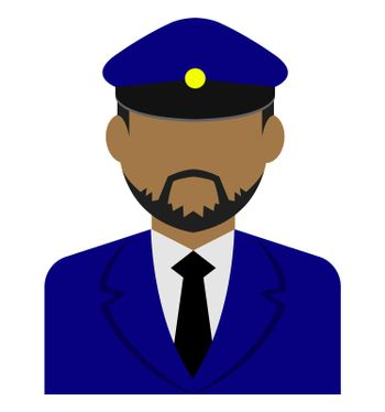Young male worker avatar flat illustration (upper body) / driver, taxi driver