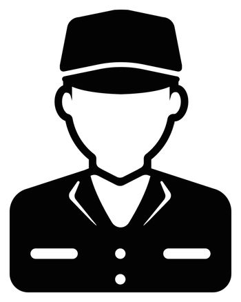 Young male worker avatar flat illustration (upper body) / blue collar worker, factory worker, janitor, service man