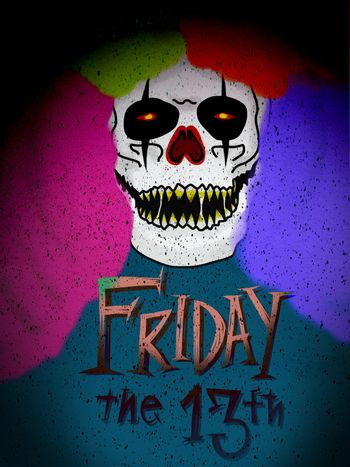 Monster clown Friday 13th painting illustration