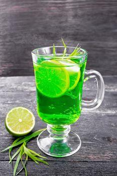 Lemonade Tarragon in goblet on board