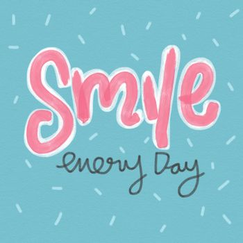 Smile every day word and cute pink and blue watercolor painting illustration