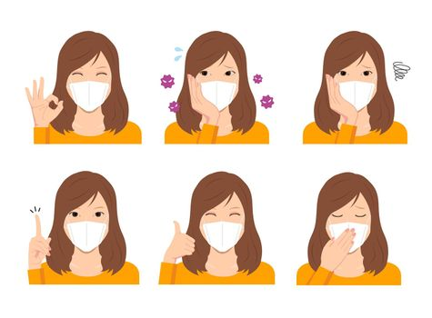 Young woman wearing a mask vector illustration (upper body) set