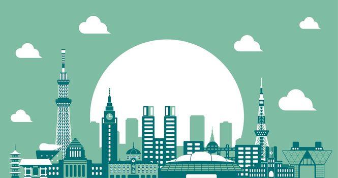 Tokyo skyline flat vector illustration. Tokyo landmark buildings / 2 tone color