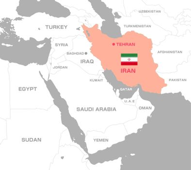 Iran and Middle east , Arabian countries map